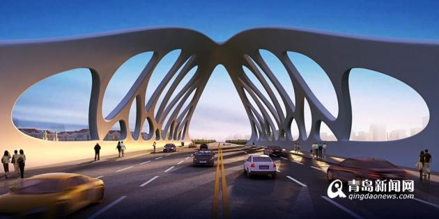 据西海岸发展集团开发建设部规划设计主管李丹介绍,该桥主桥、桥体、引桥均将采用不同规格钢结构。钢结构桥具有质量易控制、施工快速等特点。 连岛桥整体造型设计展现了青岛海洋文化特色,桥梁整体造型采用珊瑚拱形钢结构,将寓意吉祥、智慧、平安、美丽的珊瑚精神植入景观桥梁的形象特质中。贝壳的弧形成含珠之势,桥身的镂空纹理是对珊瑚外形进行了简约、抽象的艺术化勾勒,整体造型简约流畅、寓意深刻,形成西海岸一朵绽放的珊瑚贝。桥梁整体结构呈拱线型,流畅、浑然一体。