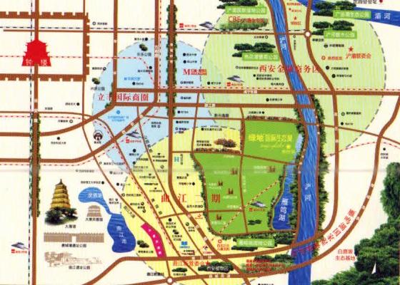 西安鹤鸣湖公园规划图