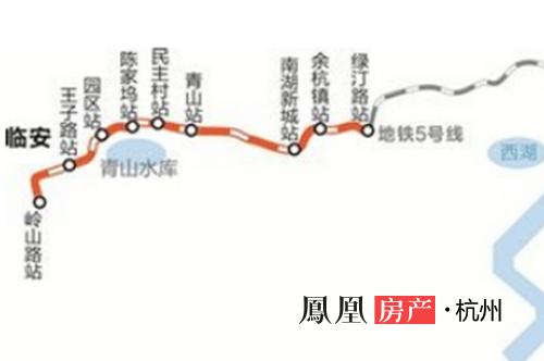 杭州至临安城际铁路线路图