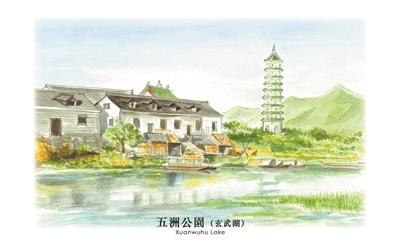 南京地标建筑手绘版作品红遍网络