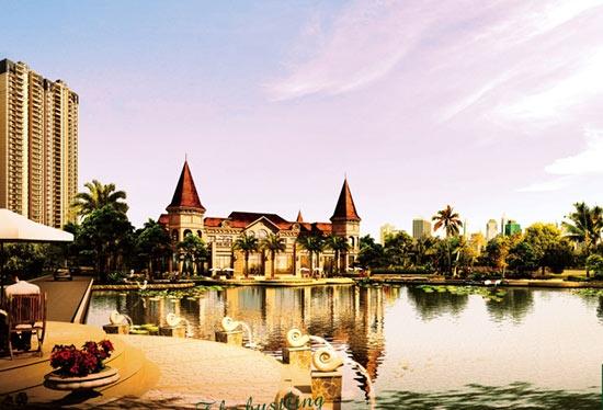 水景喷泉与欧式石雕相映成趣,亲水平台,近水景观亭,沿湖栈道等点缀