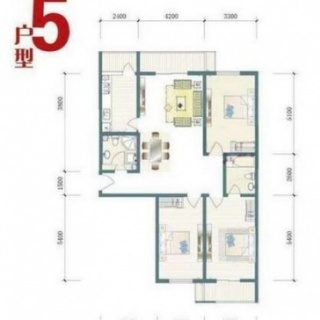 一期8号楼标准层D户型图