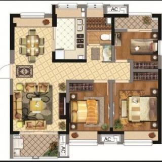 88平3室2厅1厨1卫D户型