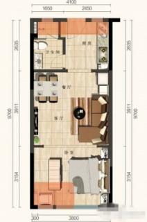 E户型 1室1厅(43㎡)