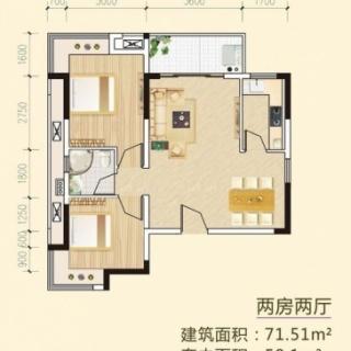 多层两房两厅户型1
