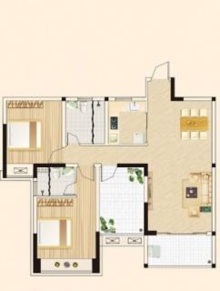 高层两房两厅户型1