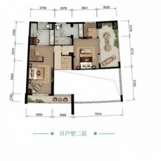 海景公寓H二层户型图