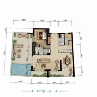 海景公寓E一层户型图