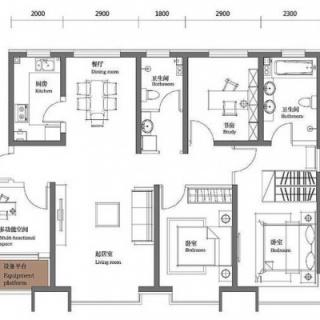 二期9#标准层金角148平四居户型