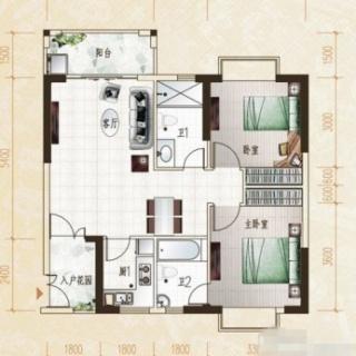柏林园2房户型2室2厅2卫