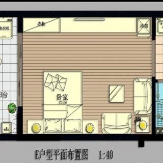 B号楼E户型1房1厅