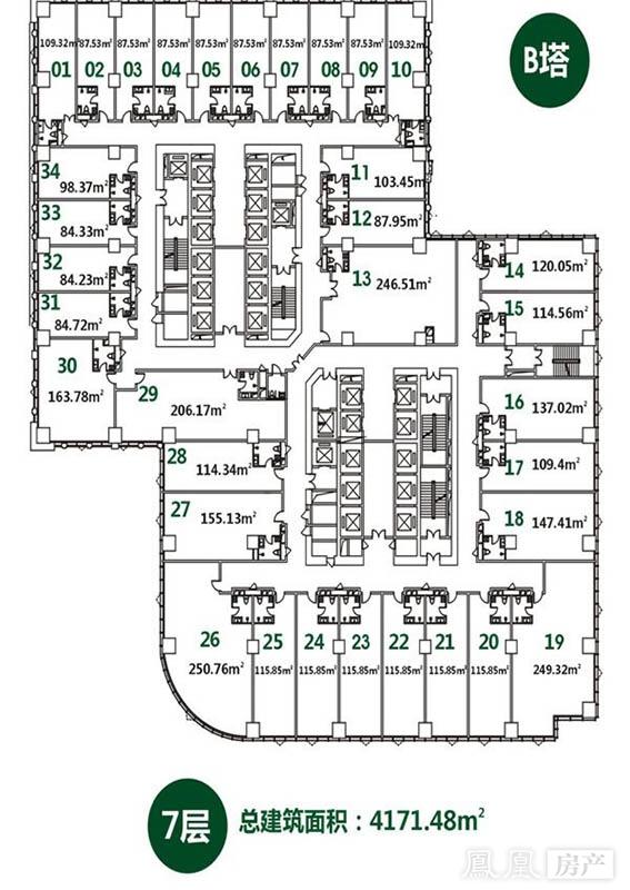 b塔4171.48平7层平面图