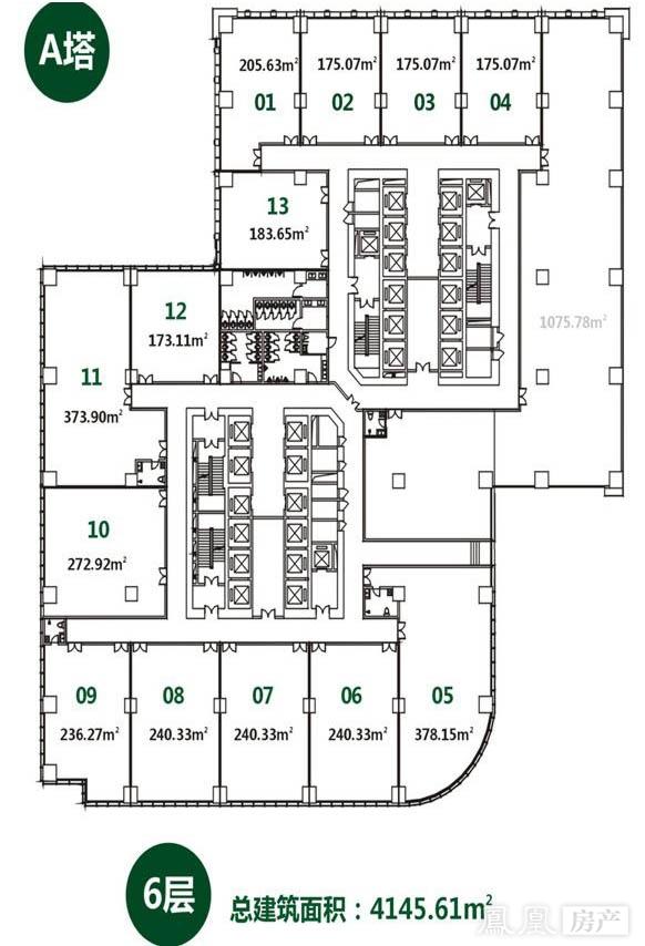 a塔4145.61平6层平面图