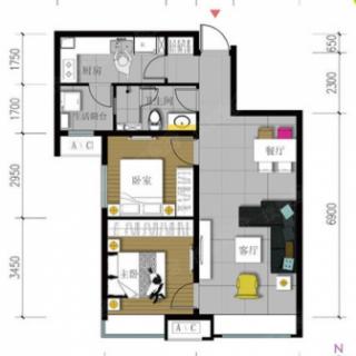 82平米两居户型图