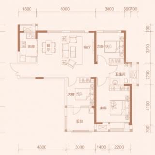 3-3户型, 3室2厅1卫, 约115.09平米