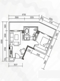 K5户型1房1厅约69㎡