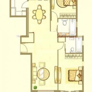 中鹰黑森林1号楼06单元户型 2室2厅2卫