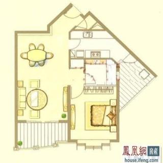 中鹰黑森林1号楼03户型 1室2厅