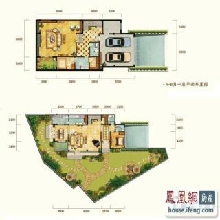 华新锦绣尚郡湖滨双墅v-b型二层和三层 4室4厅7卫1厨