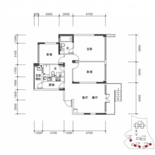 DT3-DT6栋C1户型图