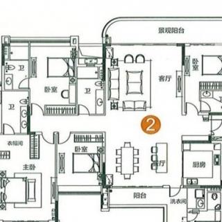 1栋1梯02单元5房户型