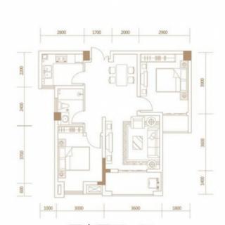 1-6号楼建面77平米户型