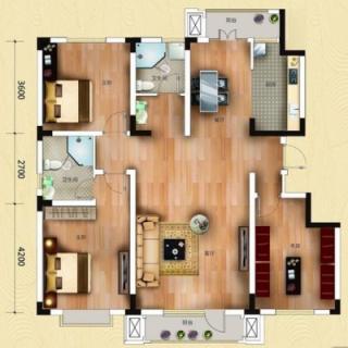一期洋房1号楼标准层两室户型