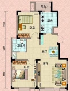 洋房标准层96m户型