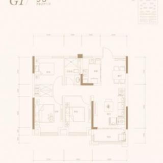 3室2厅1卫-95平米