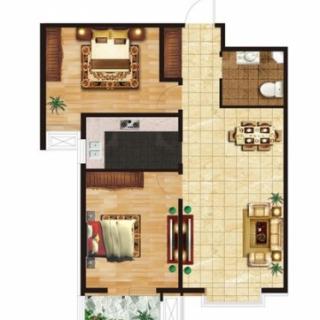 两室两厅一卫97.4㎡户型