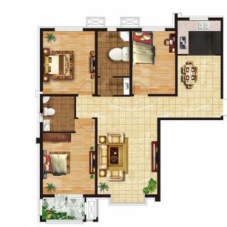 三室两厅两卫132㎡户型