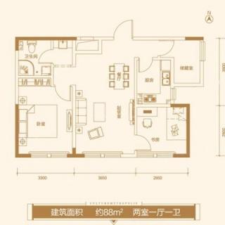 公寓11#标准层88平米户型