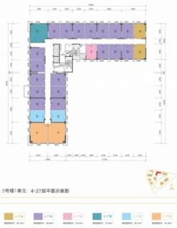 3号楼1单元4-27层平面示意图