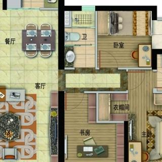 Y054-B户型,3室2厅2卫