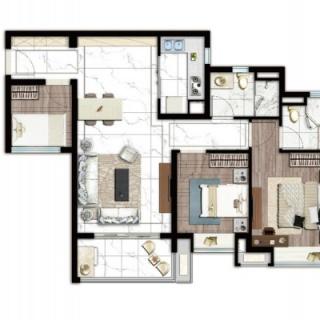 建面90平三房两厅户型