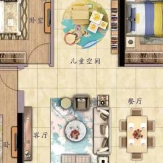 建面约120㎡三房户型图